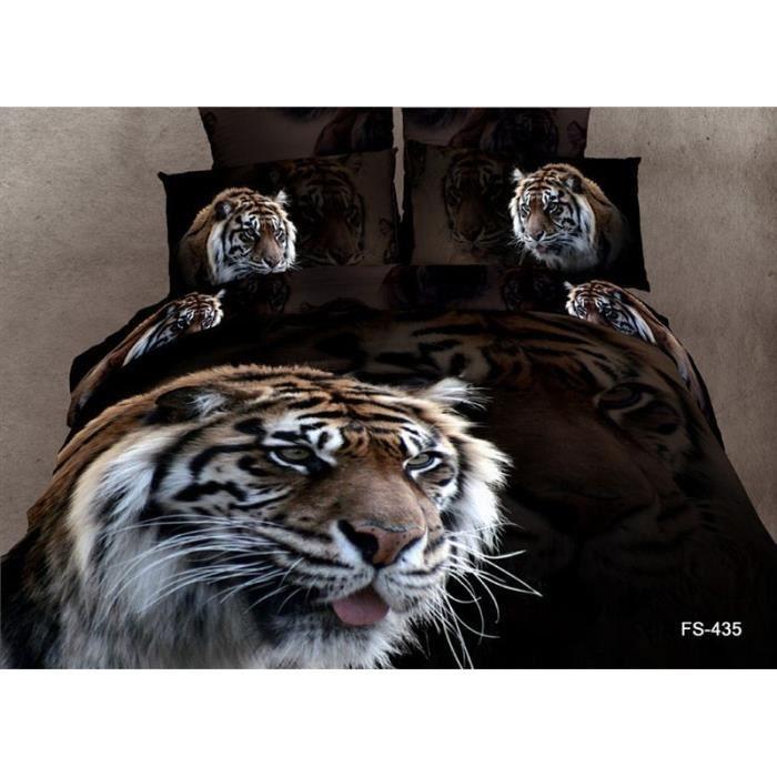parure 3d 2 personnes tigre achat vente parure de drap soldes d hiver d s le 11 janvier. Black Bedroom Furniture Sets. Home Design Ideas