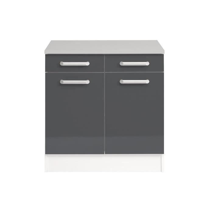 El ment bas cuisine 2 portes 2 tiroirs gris brillant marley achat vente elements bas el ment for Portes elements cuisine
