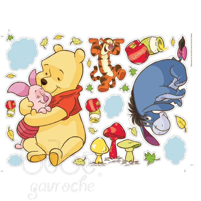57 stickers repositionnables winnie l 39 ourson ba achat for Decoration murale winnie l ourson