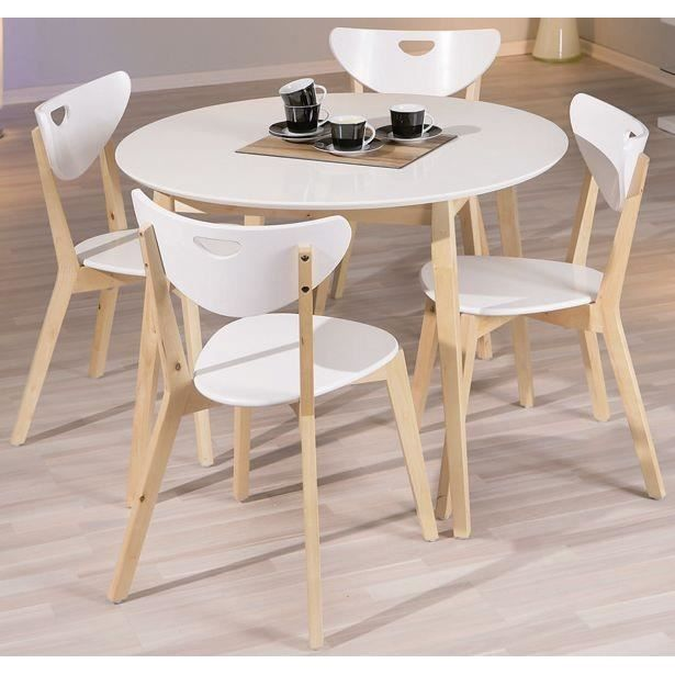 Table ronde peppita bois massif achat vente table a for Table a manger ronde bois
