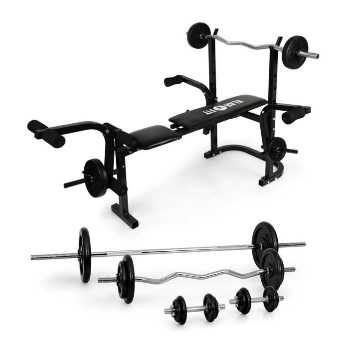 Klarfit fitness banc de musculation avec set d 39 halt res - Programme musculation avec banc domyos ...