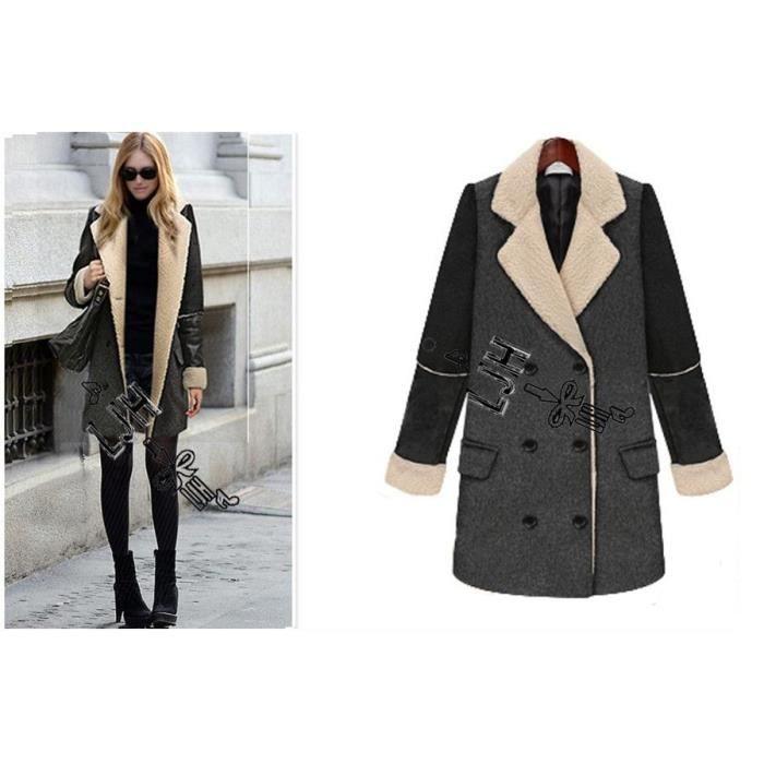 manteau veste femme manteau de soir e en laine double boutonnage col revers emilie vogue. Black Bedroom Furniture Sets. Home Design Ideas
