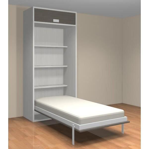 Lit relevable avec tag res teo 90x190 blanc et gr achat vente lit escamo - Lit escamotable cdiscount ...