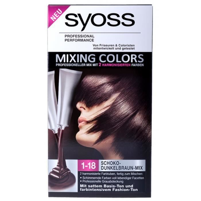 coloration syoss mixing colors coloration 1 18 mix chocolat b - Syoss Coloration Prix