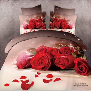 parure de lit noir et rouge achat vente parure de lit noir et rouge pas cher cdiscount. Black Bedroom Furniture Sets. Home Design Ideas
