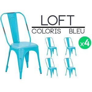 CHAISE Loft Turquoise - Lot 4 chaises métal
