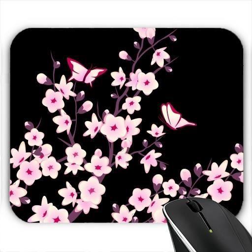 tapis de souris cerisiers en fleurs de rose noir prix. Black Bedroom Furniture Sets. Home Design Ideas