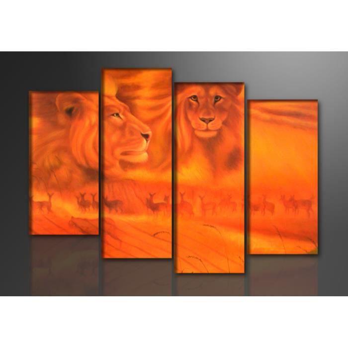 Tableau moderne imprim 130x80 cm lion achat vente tableau toile cd - Tableau moderne discount ...