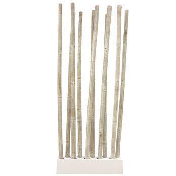 maison decoration accessoires paravent bambou patine blanc f  auc