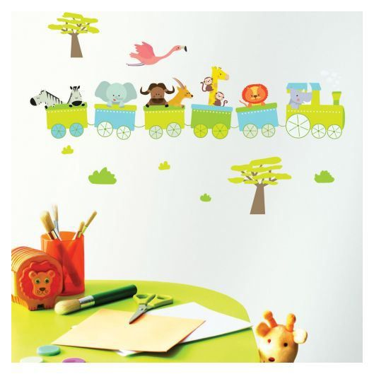Stickers chambre b b train achat vente stickers for Tableau chambre bebe animaux