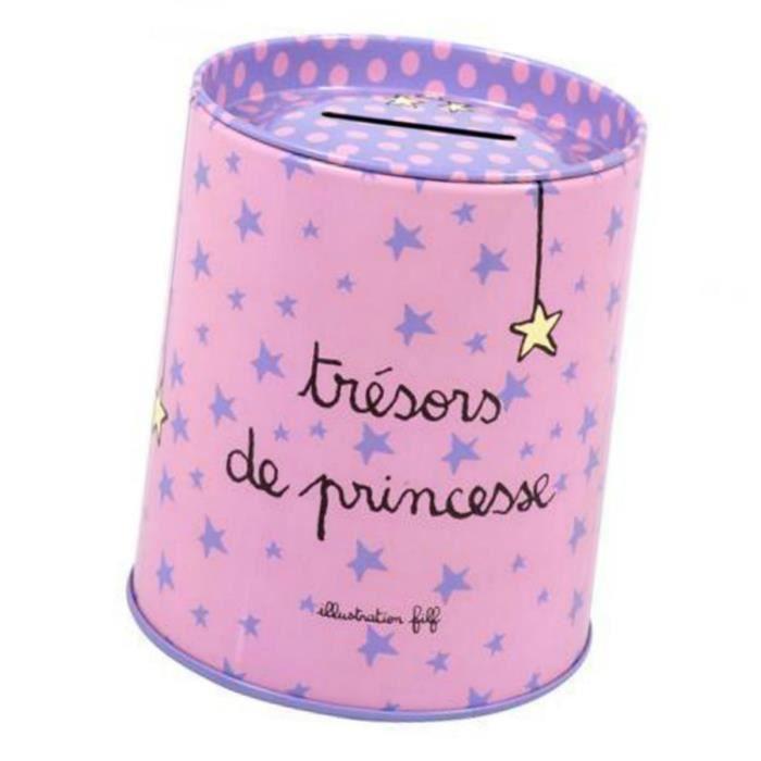 tirelire tresors de princesse en m tal d cor etoiles rose d co id e cadeau original pour. Black Bedroom Furniture Sets. Home Design Ideas