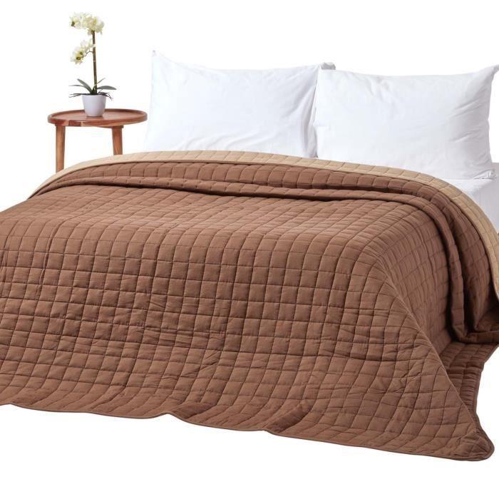 Couvre lit bicolore en pur coton 400 g m coloris chocolat vison 230 x - Linge de lit chocolat ...