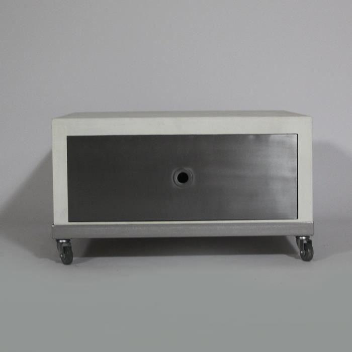 Table basse kubik 1 tiroir en bois blanchi bl achat for Table basse bois blanchi