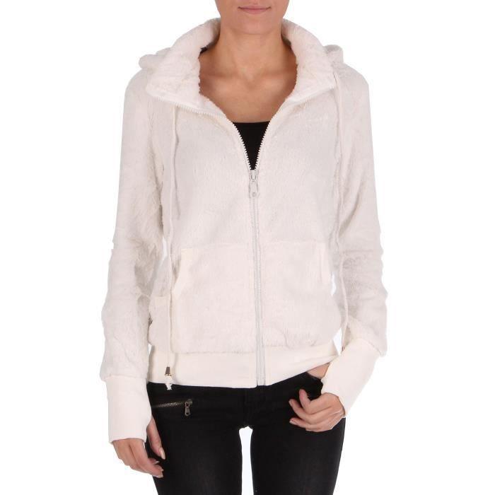 gilet doux avec capuche femme blanc blanc achat vente gilet cardigan soldes d hiver d s. Black Bedroom Furniture Sets. Home Design Ideas