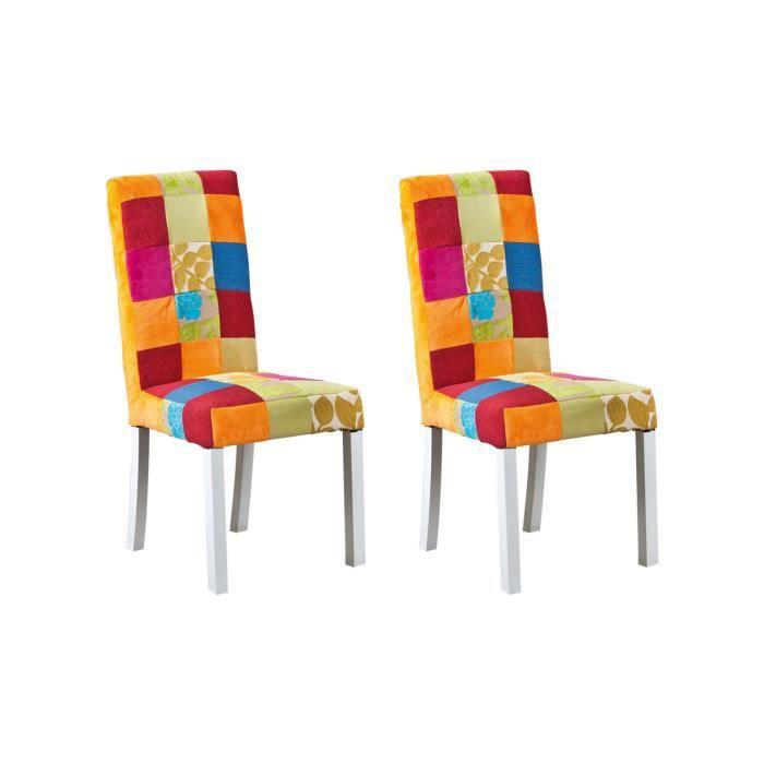 lot de 2 chaises en tissu patchwork sao bento achat vente chaise soldes cdiscount. Black Bedroom Furniture Sets. Home Design Ideas