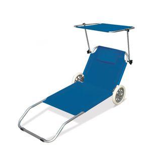 Chaises longues bains de soleil a roues achat vente for Transat de plage pliant