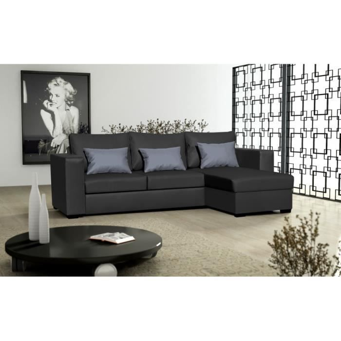 canap joe dolaro noir petit coussin gris sofa divan achat vente canap sofa divan. Black Bedroom Furniture Sets. Home Design Ideas