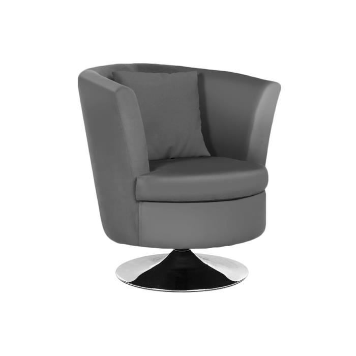 Fauteuil gris pivotant pu adelta achat vente fauteuil cdiscount - Fauteuil pivotant gris ...