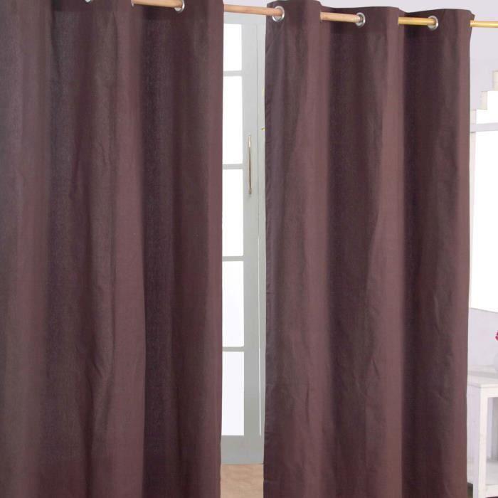 paire de rideaux oeillets uni chocolat 100 coton 137 x. Black Bedroom Furniture Sets. Home Design Ideas