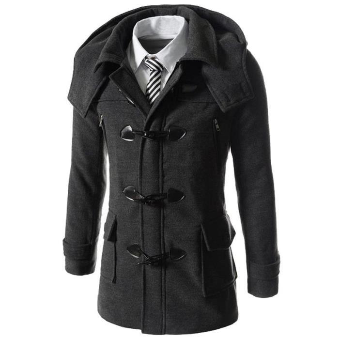 duffle coat manteau en laine homme hiver capuch gris achat vente manteau caban cdiscount. Black Bedroom Furniture Sets. Home Design Ideas
