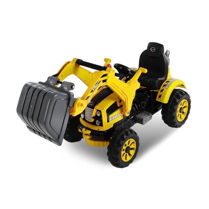 tracteur lectrique pour enfant 2x30w jaune achat vente voiture enfant cdiscount. Black Bedroom Furniture Sets. Home Design Ideas