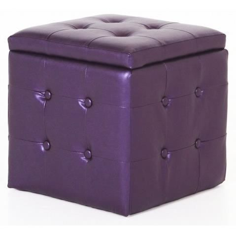 Pouf coffre capitonne violet dalton achat vente pouf poire cdiscount - Pouf coffre capitonne ...