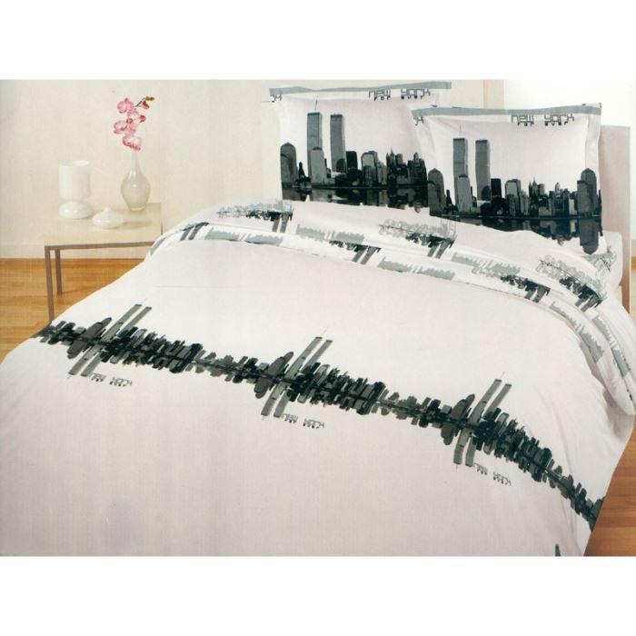 Housse de couette 220x240 cm et ses 2 taies d 39 o achat vente parure de couette cdiscount - Housse de couette new york 1 place ...