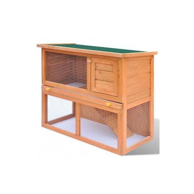 Superbe cage clapier ext rieur en bois pour lapins 1 porte for Cage exterieur pour lapin