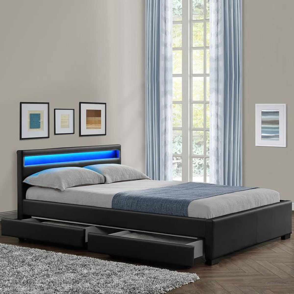 Lit rona 160cm noir lit confortable original et for Lit original