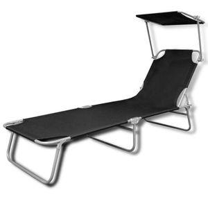 Chaise longue transat noir achat vente chaise longue for Chaise longue avec pare soleil pas cher