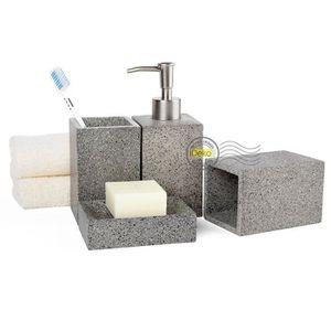Set de salle de bain gris achat vente set de salle de - Set de salle de bain pas cher ...