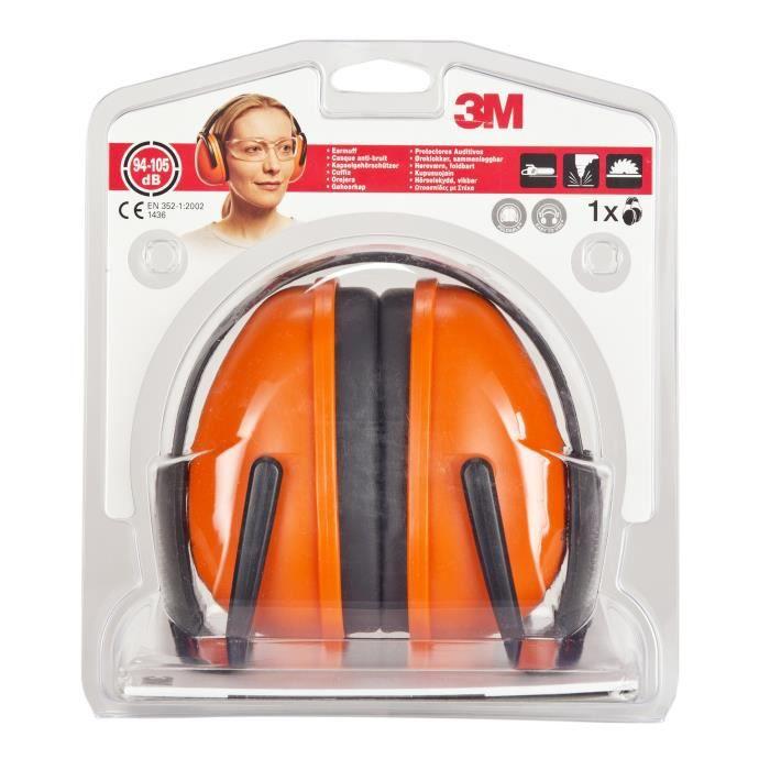 3m casque anti bruit 1436c orange noir casque. Black Bedroom Furniture Sets. Home Design Ideas