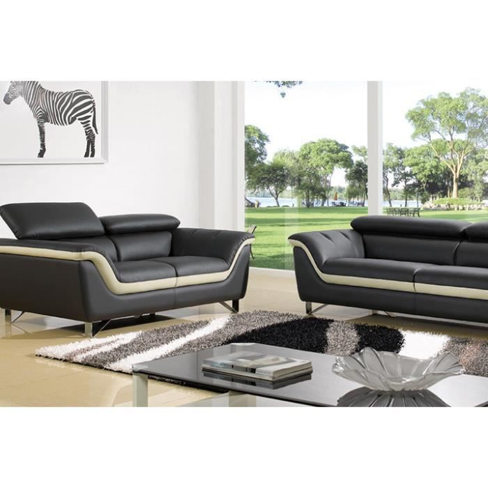 salon cuir sup rieur noir et beige montreal achat vente canap sofa divan cuir. Black Bedroom Furniture Sets. Home Design Ideas