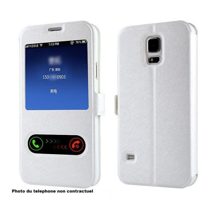 Tui housse blanc iphone 6 flip cover s view luxe achat for Housse iphone 6 luxe