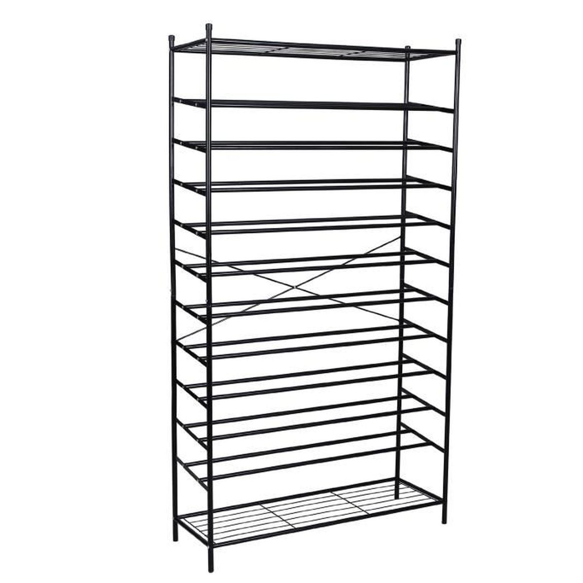 Armoire tag res chaussures 12 couches meuble chaussures noir m tal pour 70 paires 192 x 37 - Etagere a chaussure ...