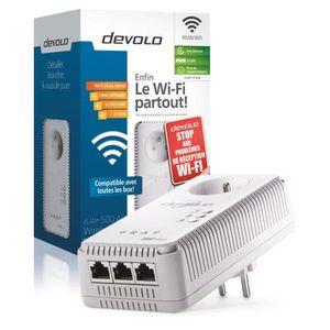 devolo 1828 dLAN 500 AV Wireless+, Prise CPL Wi-Fi 500 Mbit/s, 3 ports Fast Ethernet, Prise Intégrée, Module complémentaire (x1)