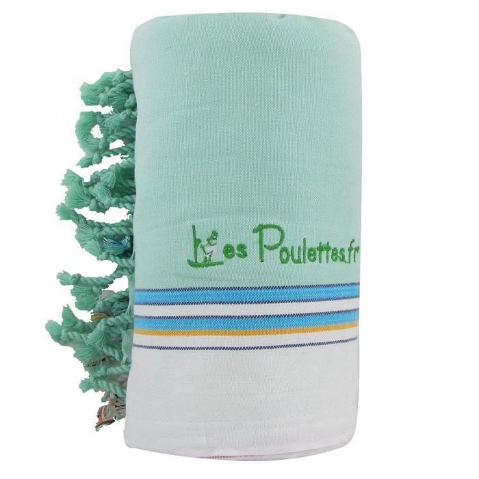 Kikoy serviette plage coton couleur vert d 39 eau achat for Chambre couleur vert d eau
