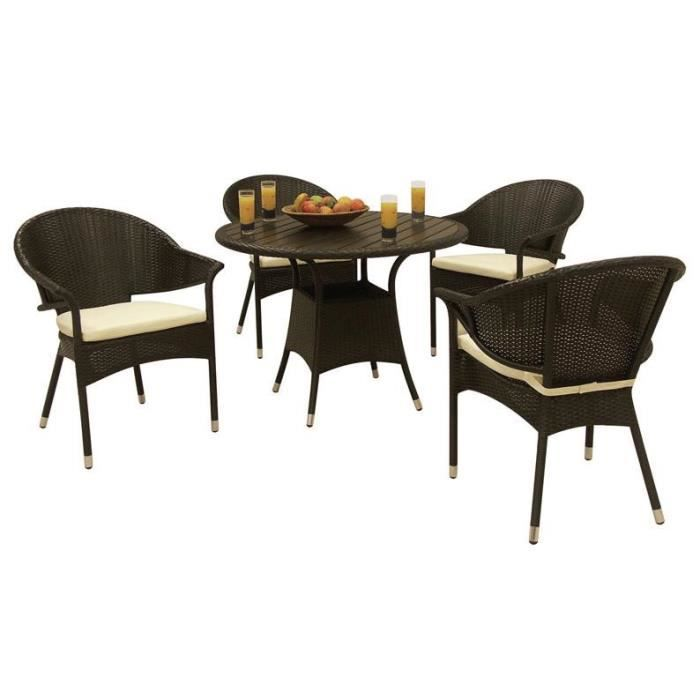 salon de jardin en r sine noir 4 chaises avec cousin 1. Black Bedroom Furniture Sets. Home Design Ideas