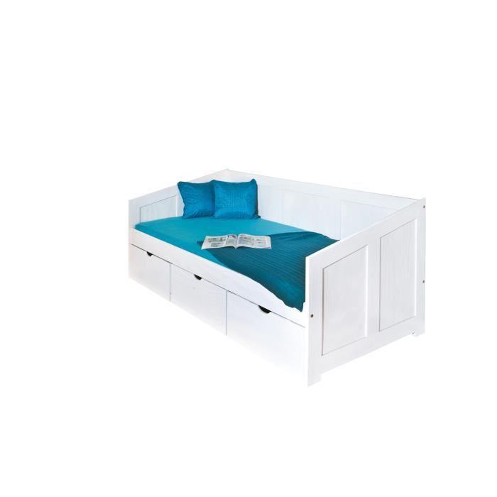 pauline lit 90x190 cm avec 3 tiroirs achat vente structure de lit pauline lit 90x190 cm. Black Bedroom Furniture Sets. Home Design Ideas