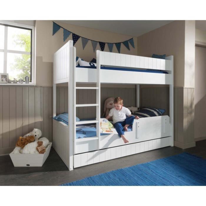 Lits superpos s avec tiroir lit et barri re de s curit blanc cleo blanc - Lit superpose lit tiroir ...