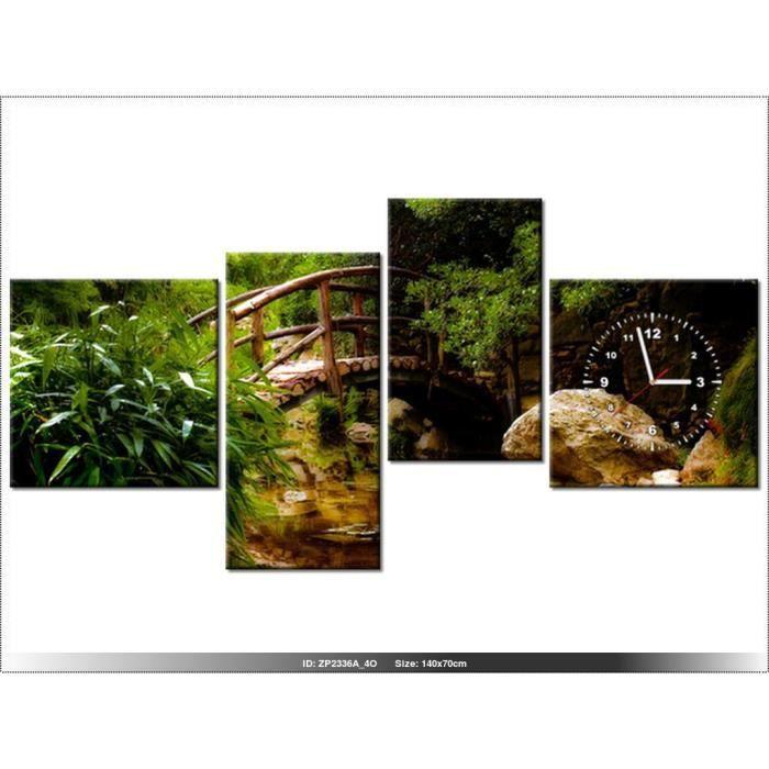 140 x 70 cm jardin japonais paysage horloge murale - Tableau jardin japonais ...