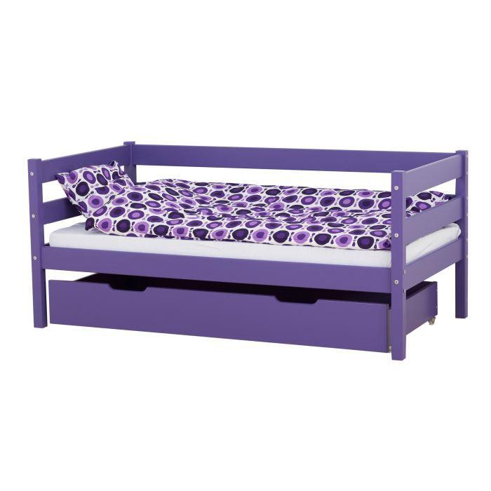 lit enfant classique hop coloris violet achat vente lit complet cdiscount. Black Bedroom Furniture Sets. Home Design Ideas