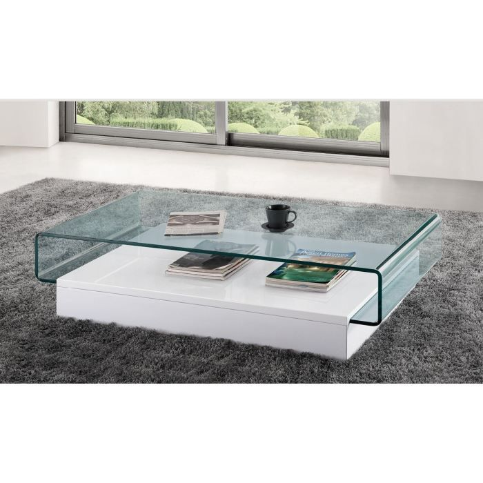 Table basse design en verre danae blanc achat vente table basse table b - Table salon verre design ...