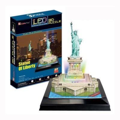 puzzle 3d 37 pi ces lumineux la statue de la libert. Black Bedroom Furniture Sets. Home Design Ideas