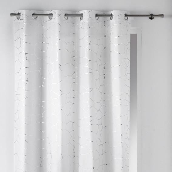 rideau illets occultant imprim sahel 140x260 cm blanc et argent achat vente rideau 100. Black Bedroom Furniture Sets. Home Design Ideas