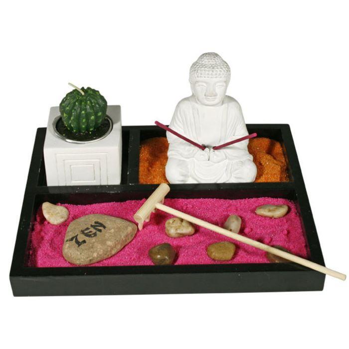 Jardin zen japonais avec bouddha encens et sable achat for Jardin japonais sable
