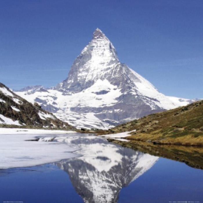 montagnes poster reproduction mont cervin et lac du riffel 70 x 70 cm achat vente