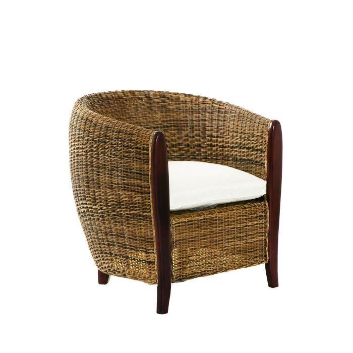 fauteuil en rotin cabriolet avec coussin beige et blanc achat vente fauteuil cdiscount. Black Bedroom Furniture Sets. Home Design Ideas