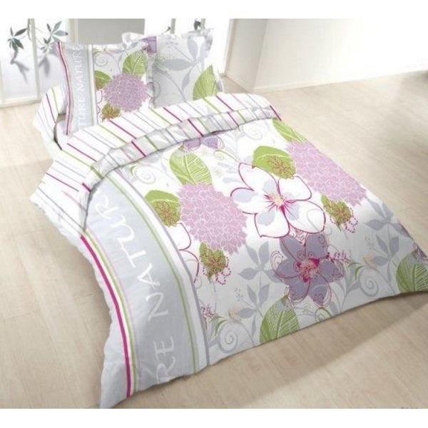 parure drap plat 240x300 cm drap housse 140x190 cm 2 taies d oreiller flanelle hortensia dv. Black Bedroom Furniture Sets. Home Design Ideas