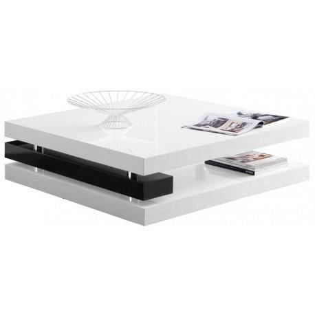 Table basse carr e blanche et noire design katia achat - Table basse carree noire ...